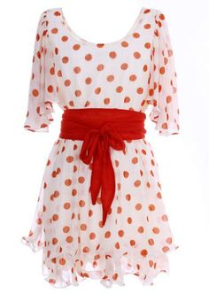 Apricot Short Sleeve Polka Dot Belt Chiffon Dress pictures