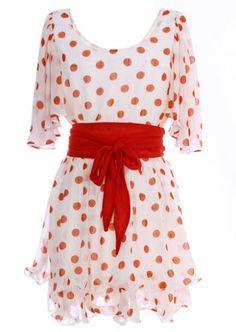 Apricot Short Sleeve Polka Dot Belt Chiffon Dress pictures