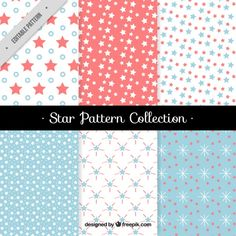 Cute patterns with flat decorative stars Free Vector