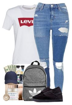 """Sem título #2188"" by isabellacarolina161 ❤ liked on Polyvore featuring Levi's, Topshop and adidas"