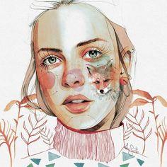 #art #arte #illustration #watercolor #draw #dibujoalapiz #fox #autumn #fashionillustration #fashionart