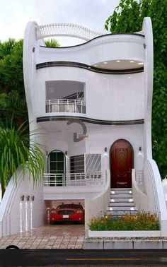 Although I'm sure it's MUCH newer, it recalls Bauhaus and Art Moderne elements to me. Source is a jpeg. Would love to know who designed and where it's built. ~ Great pin! For Oahu architectural design visit http://ownerbuiltdesign.com