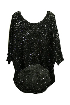 Asymmetric Style Batwing Sleeves Black Jumper