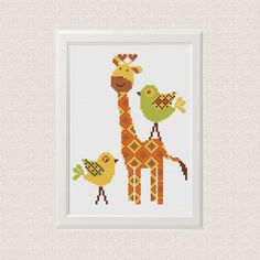 Giraffe with birds baby Cross stitch pattern Set of 3 baby Cross stitch pattern: https://www.etsy.com/listing/519064949 ❤ ❤ ❤ You can always find and download them here: You> Purchases and reviews  ❤ PATTERN DETAILS ❤  Giraffe: Fabric: 14 count Aida, Any fabric you like Stitches: 66*87 Size: 11,97 x 15,78 cm, for 5x7 frame Floss: DMC (5 colors) Use 2 strands of thread for cross stitch    This pattern is in PDF format and consists of an example photo, a floss list DMC an...