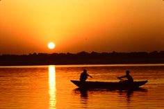 My photo of sunrise on the Ganges River in Varanasi, India-they live and die on the Ganges