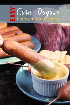 Easy Corn Dogs with Honey Mustard Sauce | Carlsbad Cravings - These are BETTER than any corn dog I've ever had and SO EASY! | Carlsbad Cravings