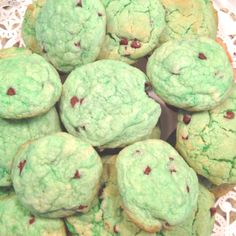 Green cookies for St. Patrick's day! Betty crocker mix (sugar cookie) 1/2 cup powder sugar 1/2 flour 1 stick butter 2 egg whites Green food coloring-or any color you want to use! Bake @ 373 for 10 min! Yum!!!!