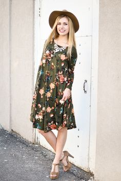 Kari Floral Trapeze Dress In Olive - My Sisters Closet