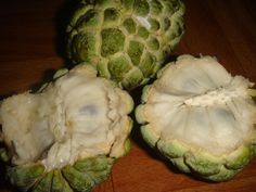 """Sweet Sop - Eating a sweet sop takes a fair bit of navigation to remove the sweet white pulp from the multitude of black seeds inside every fruit. The appearance of the fruit is what Jamaicans would describe as """"bumpy-bumpy"""" - it has many grooves marking out distinct segments on its skin. When the sweet sop is ripe its skin remains green, but the fruit becomes soft and is easily split open. It bears from April to July, and at odd times throughout the year."""