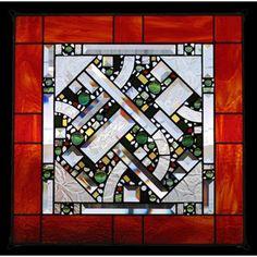 Edel Byrne Red Orange Border Geometric Stained Glass Panel, Artistic Artisan Designer Window Panels