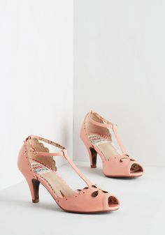 Likewise Decision Heel in Rose by Bettie Page - Pink, Solid, Cutout, Scallops, Special Occasion, Prom, Wedding, Vintage Inspired, 20s, Pastel, Darling, Spring, Better, T-Strap, Variation, Mid, As You Wish Sale