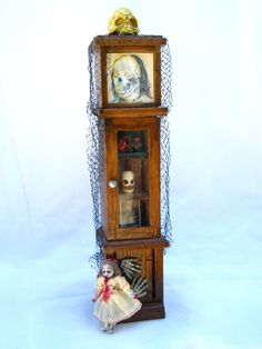 House of Horrors, haunted dollhouse miniature hall case cabinet, possessed Victorian child's Dolly, OOAK creepy artisan display skull ghost