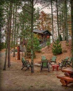Cabins And Cottages: sweet timber cottage and stone fire pit in pine wo. Cottage In The Woods, Cabins In The Woods, House In The Woods, Lake Cabins, Cabins And Cottages, Small Cabins, Little Cabin, Log Cabin Homes, Forest House