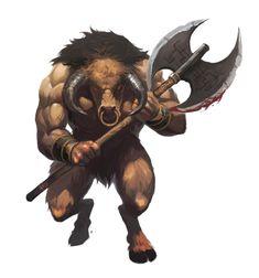 Male Minotaur with Greataxe - Pathfinder PFRPG DND D&D 3.5 5th ed d20 fantasy