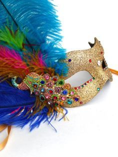 Rainbow masquerade masks with stick | WOMENS MASKS