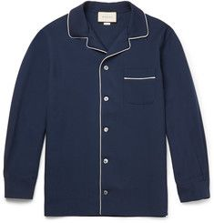 GucciCamp-Collar Contrast-Trimmed Wool and Mohair-Blend Twill Shirt
