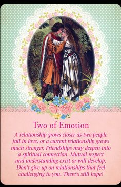 Today's card was drawn from the Guardian Angel Tarot Cards by Doreen Virtue and Radleigh Valentine. Today's card is Two of Emotion. A relationship move into a deeper, more meaningful phase. Doreen Virtue, Spiritual Connection, Spiritual Guidance, La Compassion, Angel Guidance, Angel Prayers, Oracle Tarot, Twin Souls, Messages