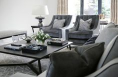 Private Residence Essex - supplied Spencer sofas Renoir armchairs Vouet stool Novello coffee table Marble lamp.