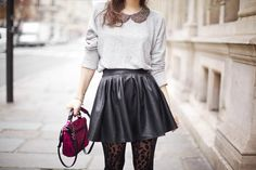 Peter Pan collared top, Leathered Skirt and laced tights