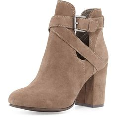 Ash Famous Suede Cutout Boot ($161) ❤ liked on Polyvore featuring shoes, boots, ankle booties, heels, booties, ankle boots, topo, suede boots, block heel boots and short heel boots