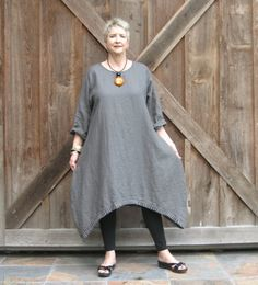 linen dress tunic in charcoal gray with ruffle by linenclothing