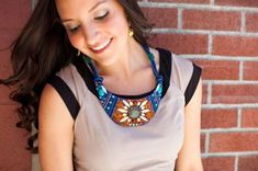 DIY Copycat: Anthropologie Beaded Bib Necklace - Brit + Co Bib Necklaces, Necklace Ideas, Beaded Necklace, Angel Necklace, Collar Necklace, Dyi, Anthropologie, Necklace Tutorial, Bead Store