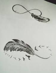 Image result for infinity feather tattoo