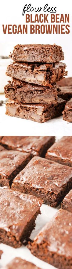 These healthier brownies are made with fiber-rich black beans and almond butter, for a rich and flourless brownie! Naturally sweetened with coconut sugar, these are dairy-free and egg-free for a vegan(Butter Beans Brownies) Flourless Brownie, Vegan Brownie, Brownie Recipes, Chocolate Recipes, Vegan Cheesecake, Vegan Treats, Vegan Desserts, Vegan Recipes, Dessert Recipes