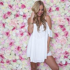 Serenade Off Shoulder Dress In White