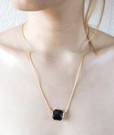 Gold Plated Necklace With Square Black by JJLeatherAndCraft
