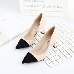 Contrast Colour Pointed Toe Thin Heels Pumps