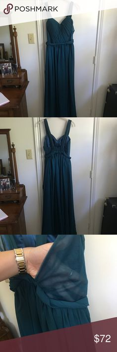 Blue prom dress Blue prom dress. My sister wore this to her senior prom. It measures 61' long and the bust is 32'. The sides are mesh see through as seen in the 3rd picture. Feel free to make an offer! 😊 Dresses Prom