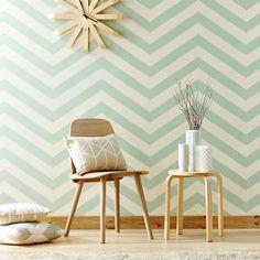 tienda online telas & papel | Papel pared rayas zigzag verde niebla