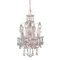 Off Paris Flea Market Imperial Blush Four Light Mini Chandelier by Crystorama Lighting Group. @ The Blush finish Clear hand polished crystals make this mini chandelier a perfect fit for any little princess. Mini Chandelier, Chandelier Lighting, Crystal Chandeliers, Nursery Chandelier, Shabby Chic Chandelier, Nursery Lighting, Shabby Chic Français, Royal Room, Sevilla