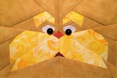 The Lorax, a free paper pieced pattern by Somera Somera Anderson Molise, available on Fandom In Stitches. Paper Piecing Patterns, Quilt Patterns, Quilting Projects, Quilting Designs, Barn Quilts, Children's Quilts, The Lorax, Foundation Paper Piecing, English Paper Piecing