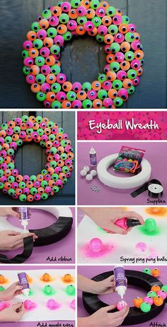 Spooky Eyeball Wreath   20+ DIY Outdoor Halloween Decorations on a Budget