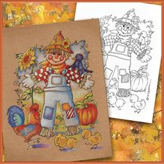 Autumn Fall Coloring Book Page  Scarecrow by PChristensenGallery