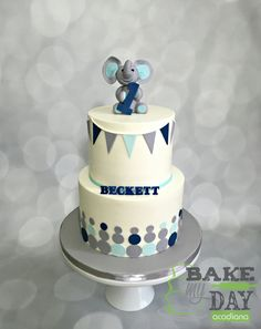 Boys first birthday cake. Iced in buttercream with a navy, light blue, grey gray and white color palette. Cute fondant and gum paste elephant topper. Mod dots, bunting banner and standing name.
