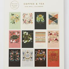 rifle paper co. Calendar = frame as wall art: pages for earl grey, darjeeling, matcha etc