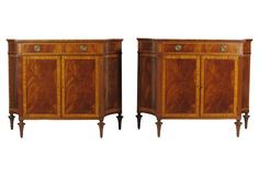 Regency-Style Inlaid Cabinets, Pair