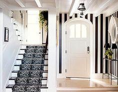 #zebra #rug #runner #stairs #stripe #walls #round #door
