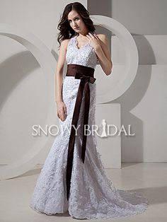 With Color Trumpet Long Lace Halter With Straps Corset Wedding Dress
