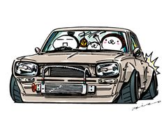 """crazy car art"" jdm japanese old school ""HAKOSUKA"" original characters ""mame mame rock"" / © ozizo Official web shop ""STAY CRAZY (in Official web shop ""ozizo(in Redbubble)"" ""Crazy Car Art"" Line stickers ""Crazy car Art"" Telegram stickers Skyline Gt, Nissan Skyline, Conceptual Drawing, Drifting Cars, Car Illustration, Weird Cars, Toyota Cars, Futuristic Cars, Car Drawings"