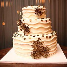 A gold mosaic vase inspired the design of the wedding cake. Cake by Cake Alchemy, New York, NY