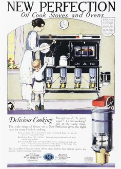 """Scanned from Taschen's """"All-American Ads of the Art Deco Vintage Advertisements, Vintage Ads, Vintage Posters, Oil Stove, Vintage Kitchen Appliances, Vintage Cooking, Vintage Interiors, Home Decor Kitchen, Homemaking"""