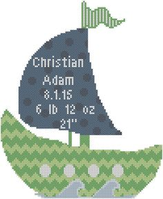 A personal favorite from my Etsy shop https://www.etsy.com/listing/241075845/boat-cross-stitch-patternbaby-cross