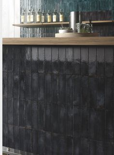 Black glossy wall tiles used as a splashback against a restaurant/bar counter to add a 'WOW' factor. FREE samples are now available to order online. Splashback Tiles, Bar Counter, Restaurant Bar, Wall Tiles, Brick, Curtains, Free Samples, Home Decor, Room Tiles