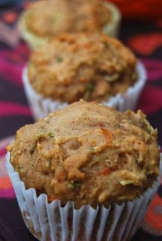Zucchini Carrot Apple Muffins - made these last night and Carmen ate two for breakfast - they're awesome - hooray for hidden veggies (I used the food processor so veggie chunks would be minimal).