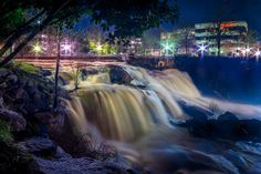 Falls Park at Night // Greenville SC I would love to take my Mom to Greenville, SC for the day shopping, walking, and eating lunch downtown!