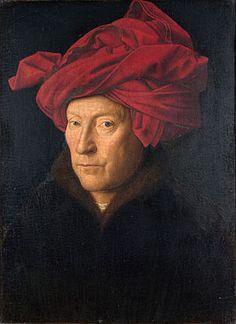 Keskiajan jälkeen huomattiin, ettei ihmisiä tarvitse maalata rumasti, vaan sen voi tehdä myös kauniisti. Tätä kutsutaan nykyään renessanssiksi. Tämä suosikkini, eli Jan van Eyckin oma(tai sitten jonkun toisen)kuva on aikaista renessanssia Hollannista. Miehen päässä ei ole turbaani vaan chaperon-hattu, ikään kuin huppu väärinpäin. Tulisivatkohan taas muotiin?